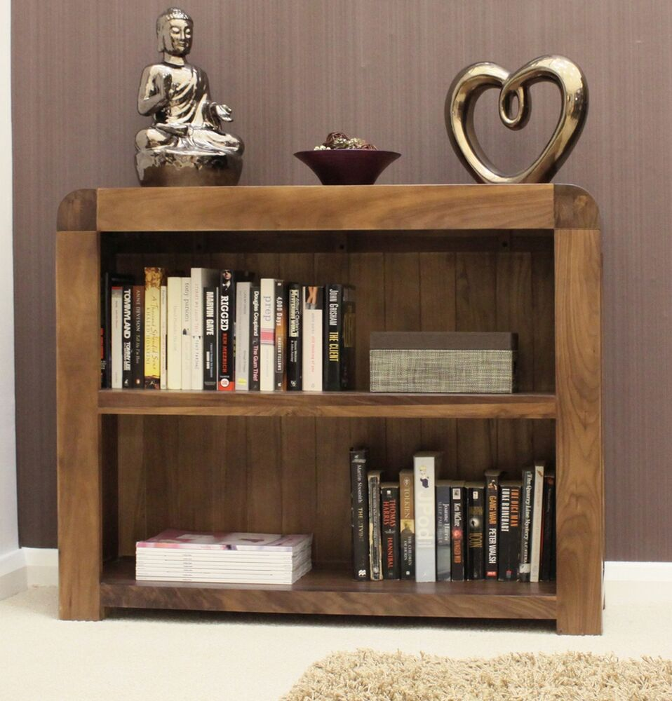 Shiro low bookcase living room office solid walnut dark - Living room with wooden furniture ...