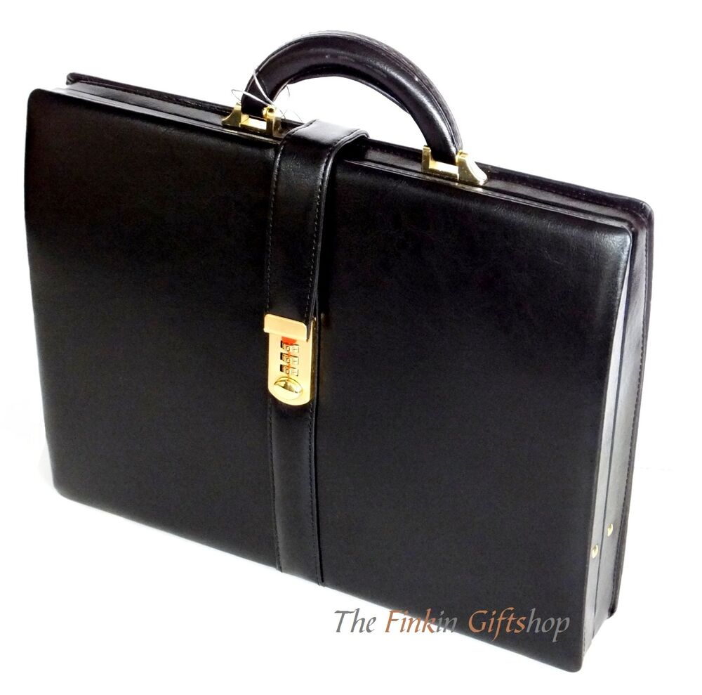 Mens Black Briefcase Womens Quality Faux Leather Attache ...