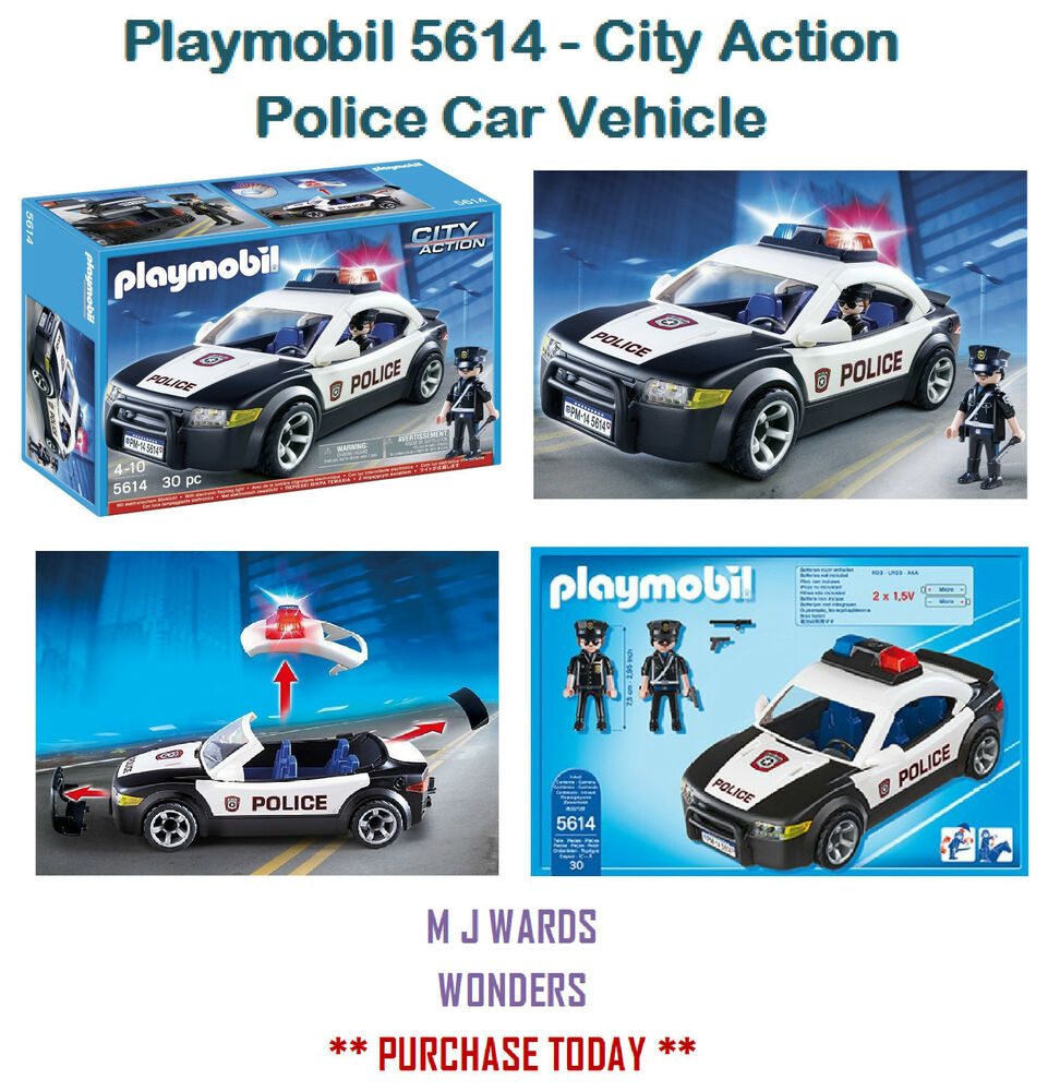 playmobil 5614 city action police car vehicle includes two figures ebay. Black Bedroom Furniture Sets. Home Design Ideas