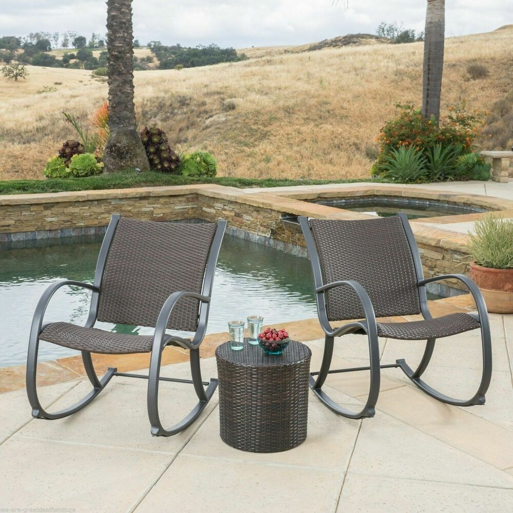 Outdoor patio furniture 3pc brown wicker rocking chair set for Outdoor wicker patio furniture