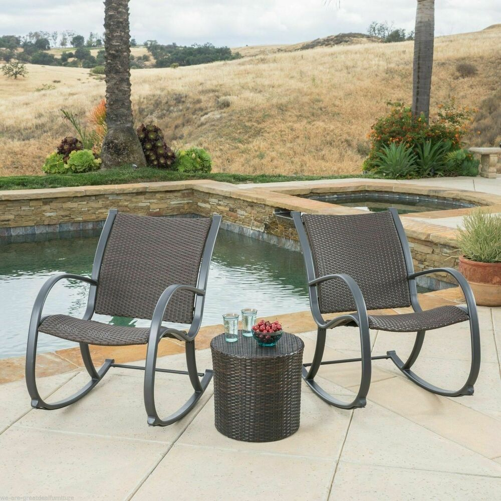 Outdoor patio furniture 3pc brown wicker rocking chair set for Outdoor patio couch set