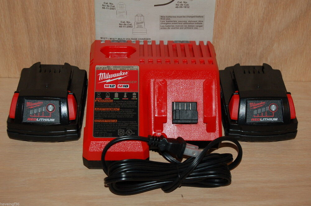 Brand New Milwaukee M12 Amp M18 Dual Charger Plus 2 New M18 Batteries 48 11 1815 Ebay