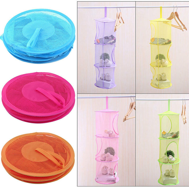 Kids 3 Tier Compartment Net Hanging Storage Toy Bedroom