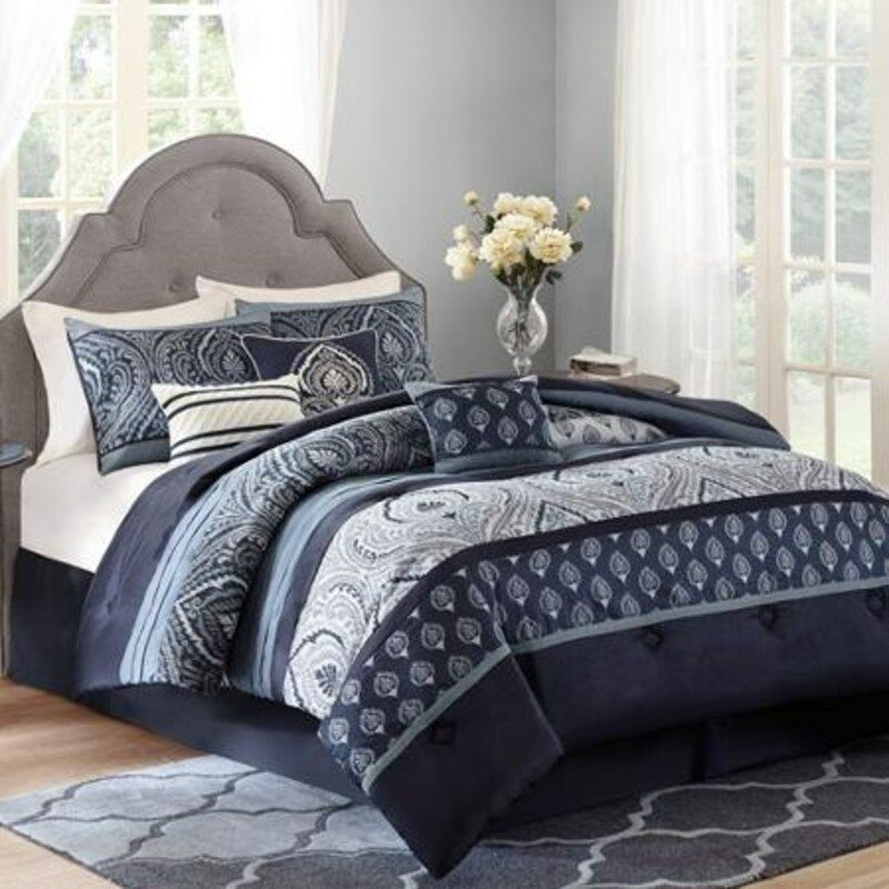 King Size Navy Blue Grey Paisley 7 Piece Bedding Comforter