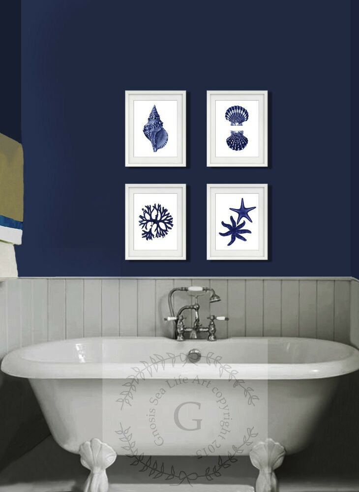 Navy blue beach wall art decor set of 4 unframed prints for 4 home decor