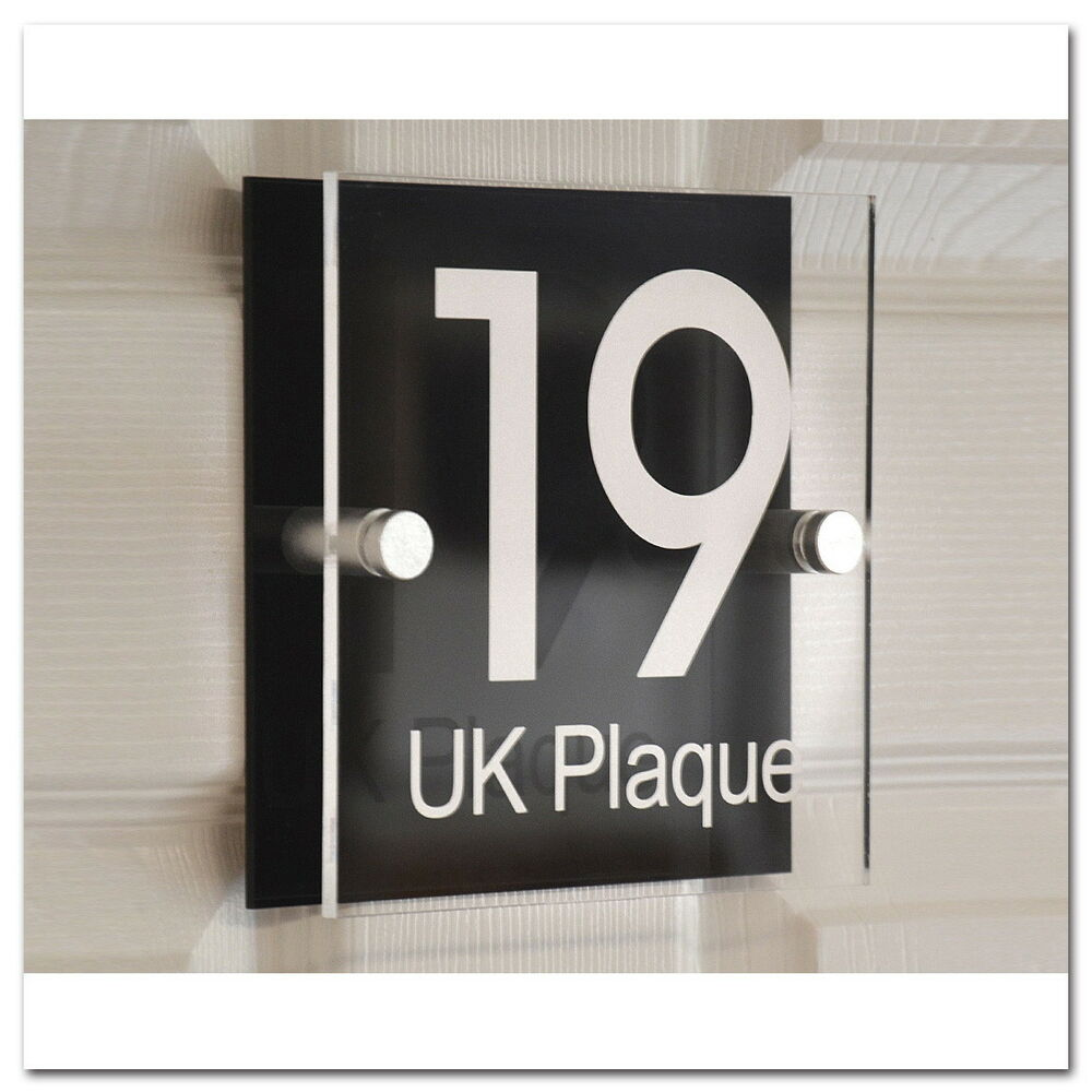 Personalised modern house sign door number home street for Contemporary house names