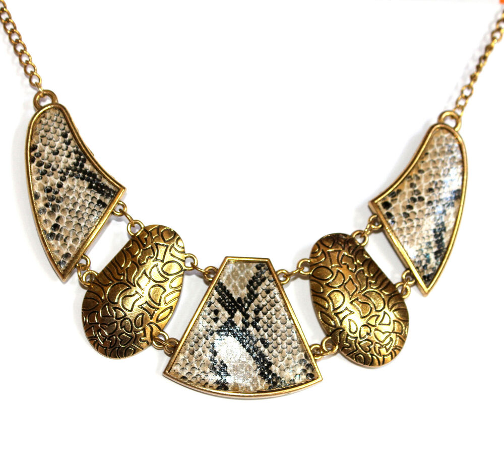 Womens Ladies Gold Tone Snake Skin Necklace Modern Chain ...