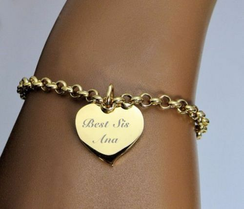 Personalized Charm Bracelet: PERSONALIZED STAINLESS STEEL GOLD HEART CHARM BRACELET