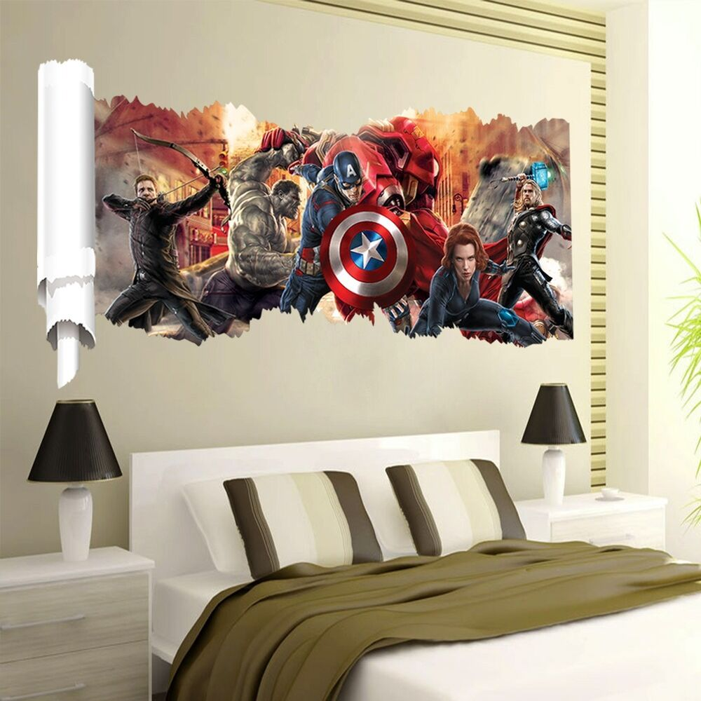 The avengers 3d movie wall sticker vinyl art decals kids for Boys room wall mural