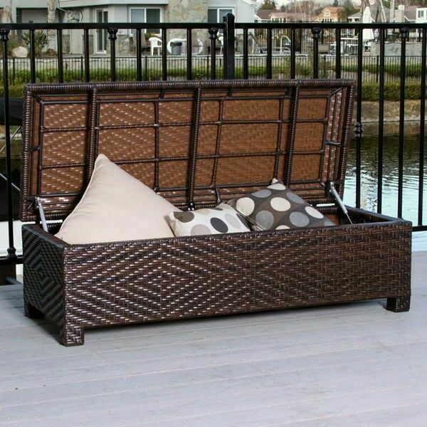 Outdoor patio furniture brown wicker storage ottoman bench for Outdoor furniture benches