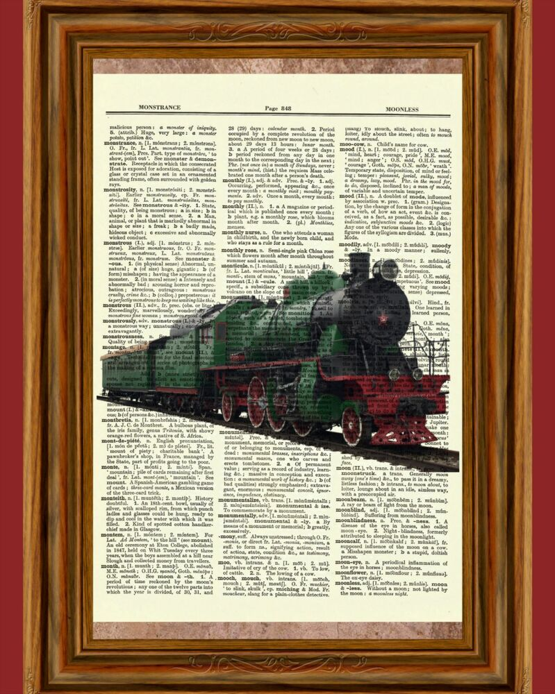 vintage train dictionary curious art print poster picture