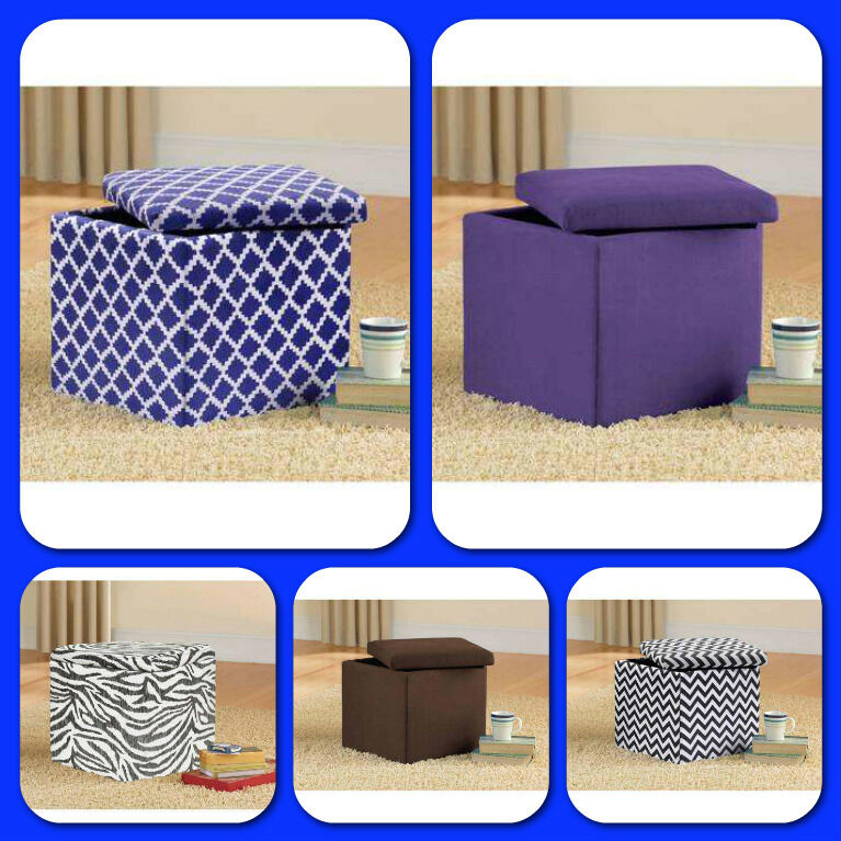 Ottoman bench chair seat storage stool furniture modern for Small storage hassocks