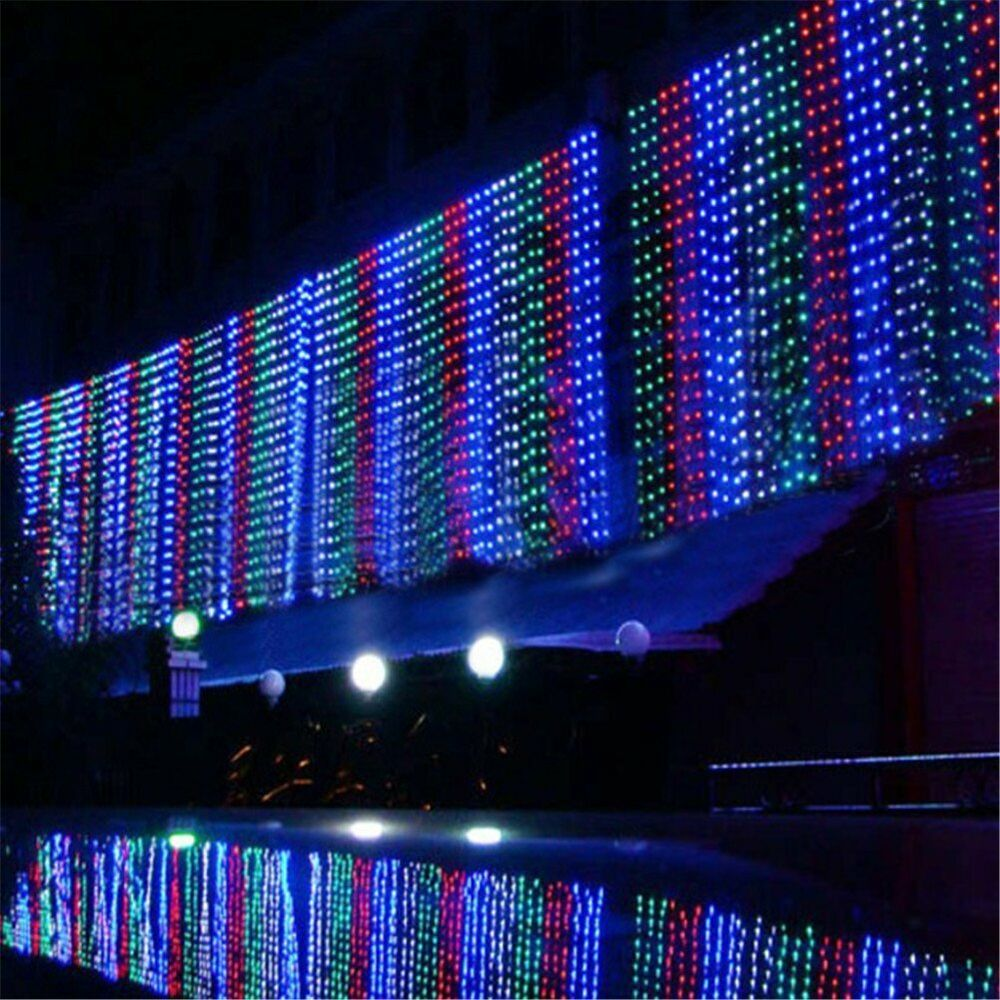 10 x 1m 448 led outdoor curtain string light christmas xmas party fairy wedding ebay. Black Bedroom Furniture Sets. Home Design Ideas