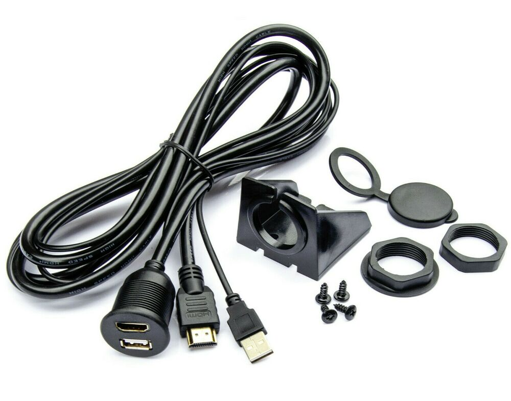usb hdmi verl ngerung 2m adapter kabel einbau aufbau unterbau buchse stecker ebay. Black Bedroom Furniture Sets. Home Design Ideas