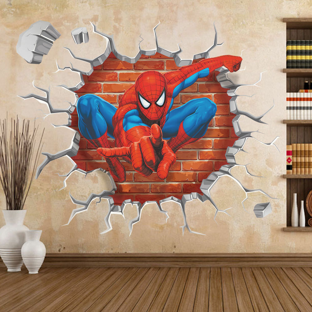 spiderman boys kids bedroom wall sticker home decor mural kids room wall sticker for kids room for boys wall