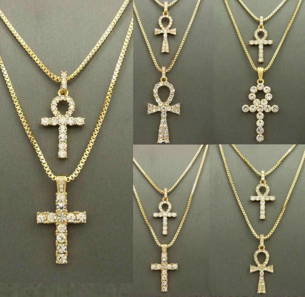mens iced out ankh cross key of pendant