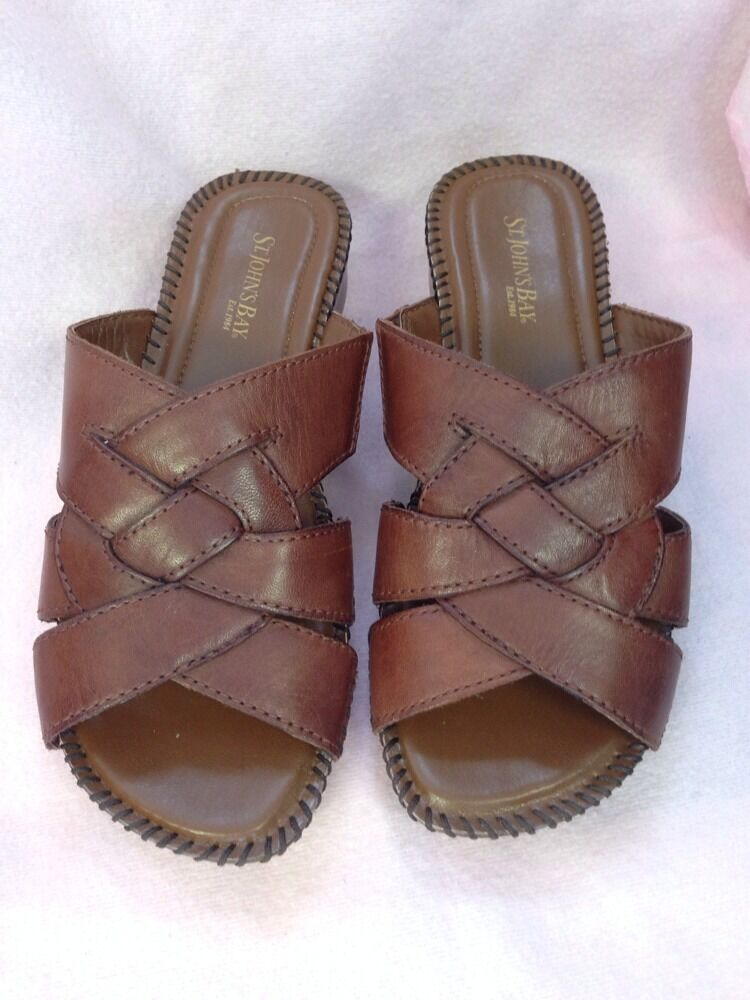 St Johns Bay Brown Slip On Shoes Mint Size 7 W Leather Ebay