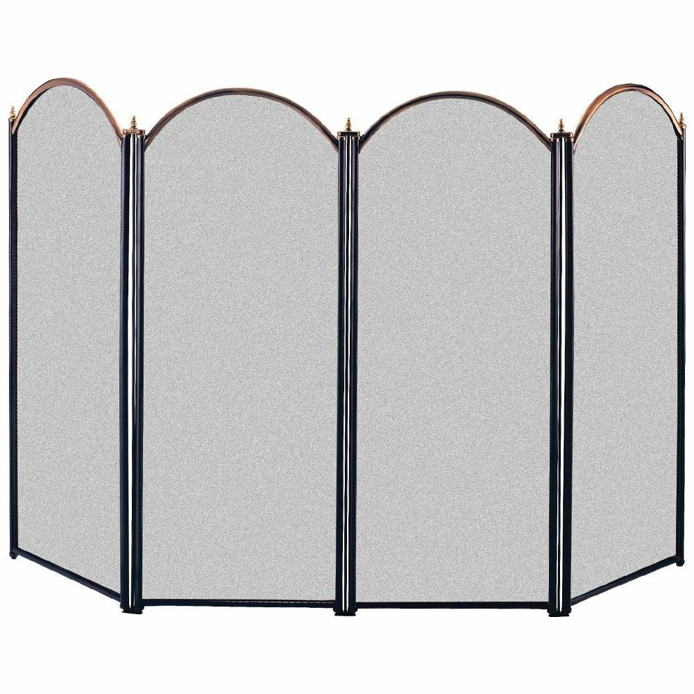 Fire Screen Guard Brass Black 4 Panel Fireplace Fireside Safety By Home Discount Ebay