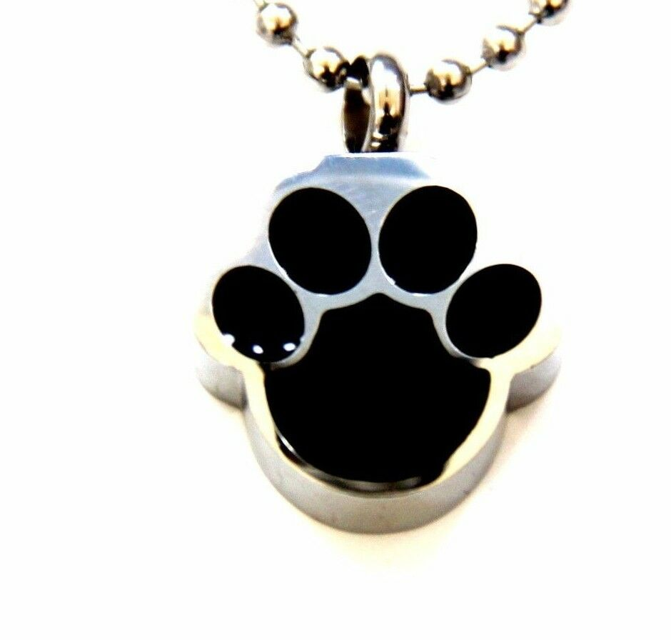 Pet cremation urn necklace paw black stainless steel for Cremation jewelry for pets ashes