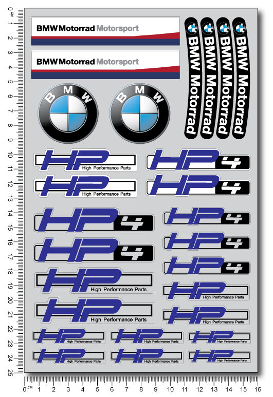 bmw hp4 motorrad motorcycle decal set sheet 28 high quality stickers s1000rr hp ebay. Black Bedroom Furniture Sets. Home Design Ideas
