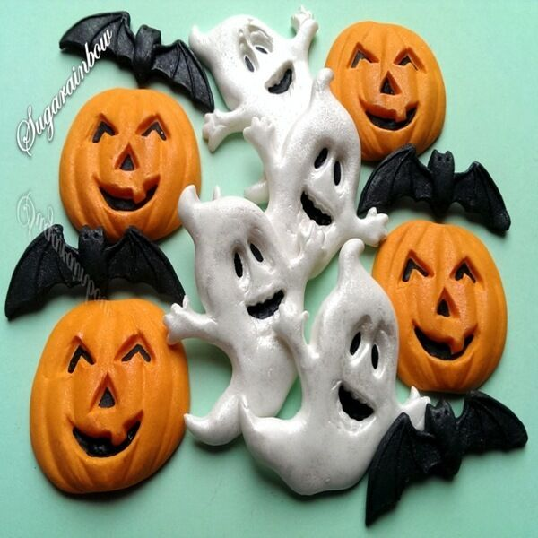 Edible Cake Decorations Halloween : Edible sugar Halloween cake decorations ghost pumpkin bats ...