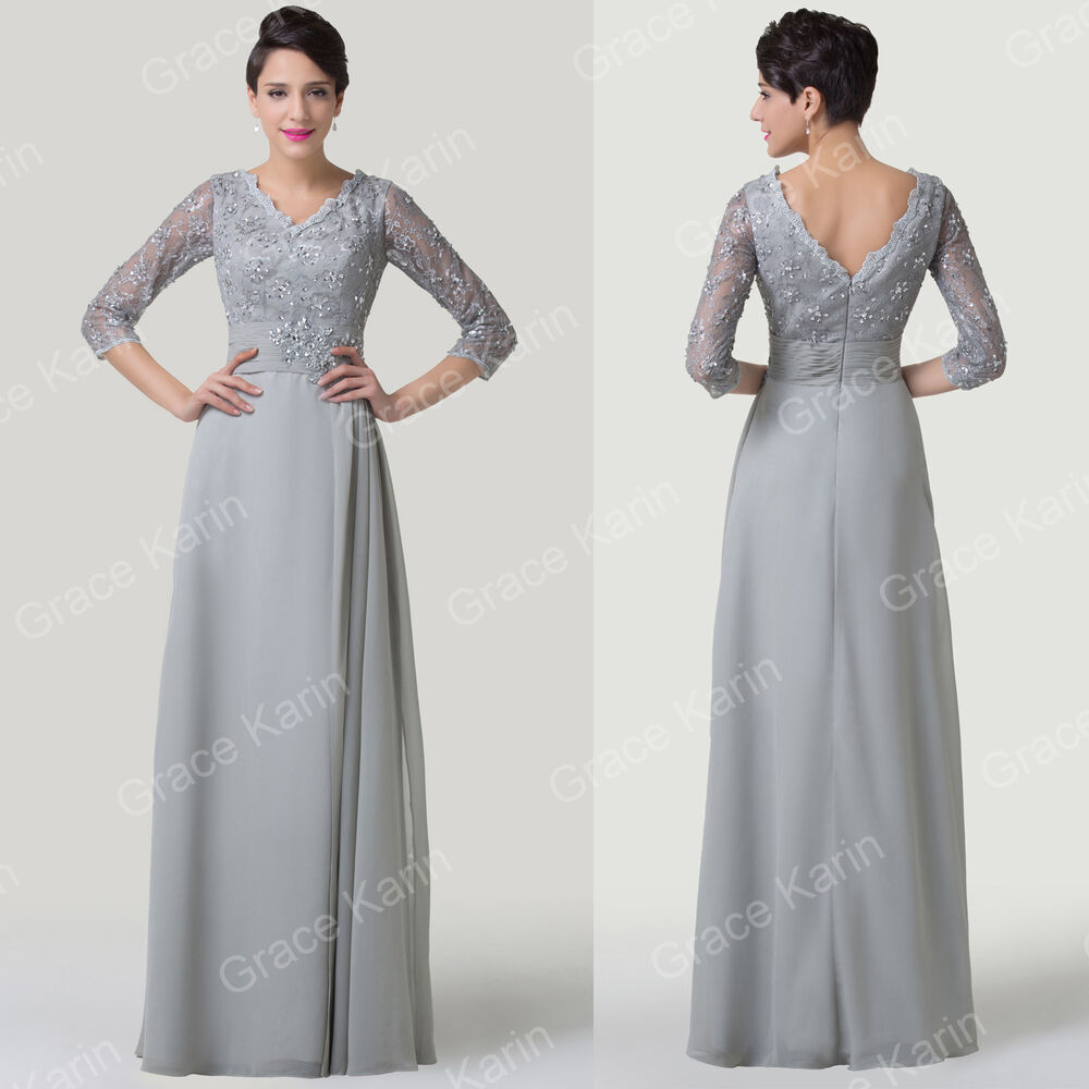Long Lace Mother Of The Bride Formal Wedding Guest Prom Gown Evening Party Dr