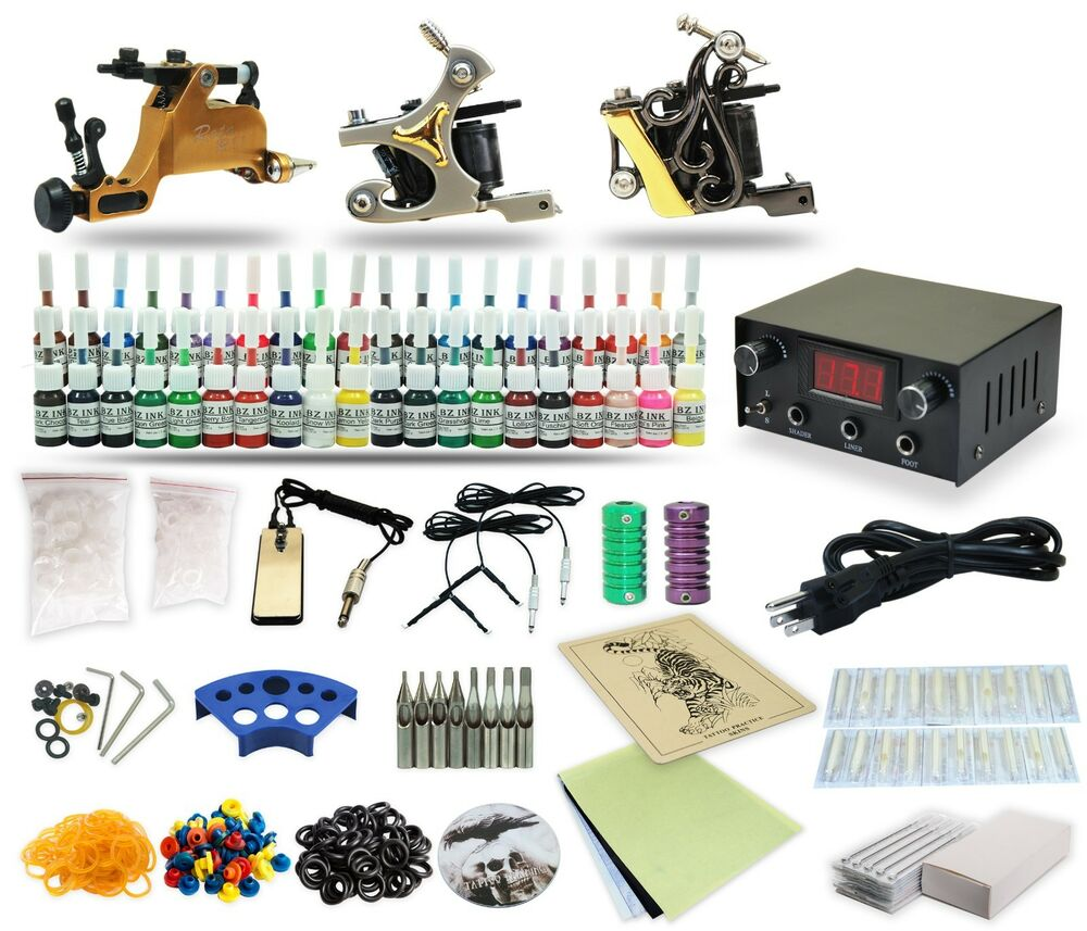Complete tattoo kit 3 machine gun 40 color inks power for Where to get tattoo supplies