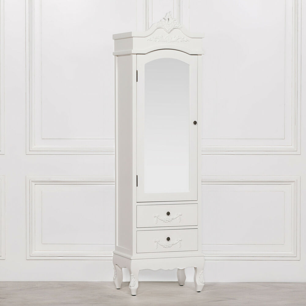French Light Cream Chateau Single Armoire Full Mirror Door ...