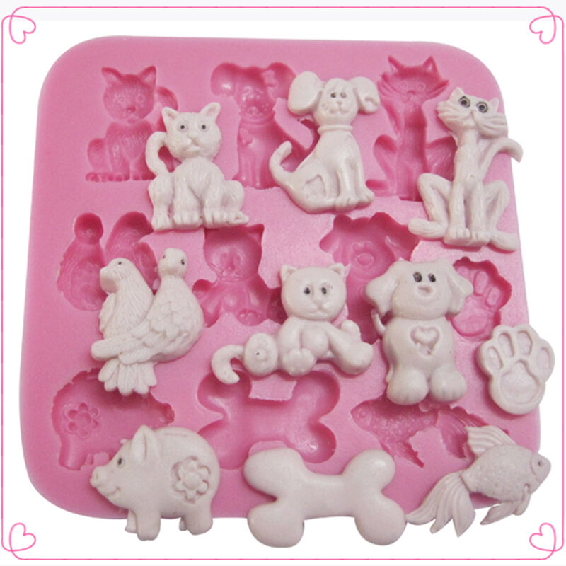 Cake Decorating Animal Molds : DIY Silicone Cats Dogs Animals Chocolate Cake Decorating ...