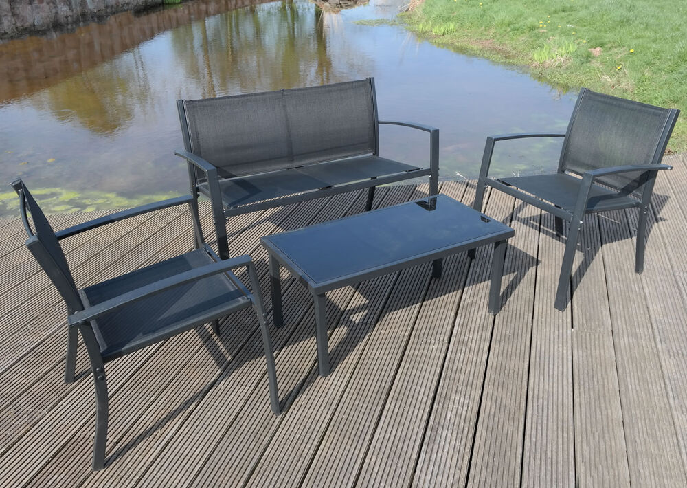 garden furniture set patio black textoline bench chairs glass table outdoor ebay. Black Bedroom Furniture Sets. Home Design Ideas