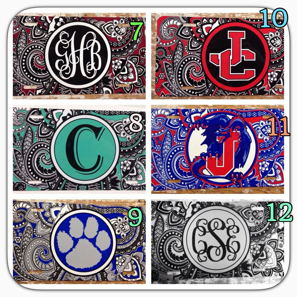 Paisley Personalized Monogrammed License Plate Car Tag