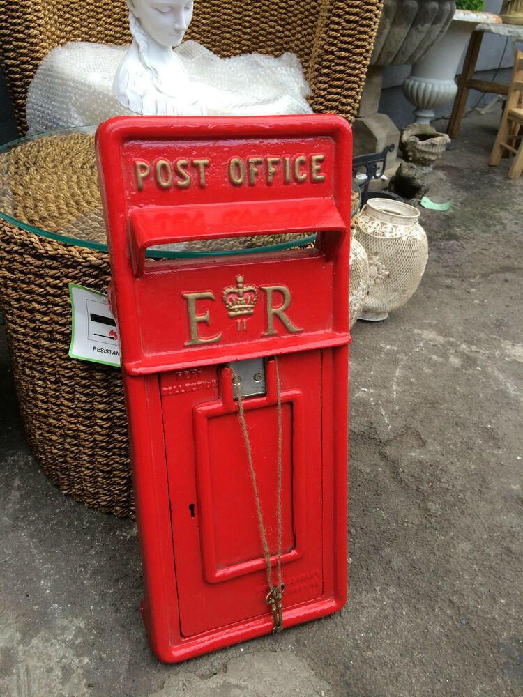British Royal Mail ER II Cast Iron Post Box Front Post