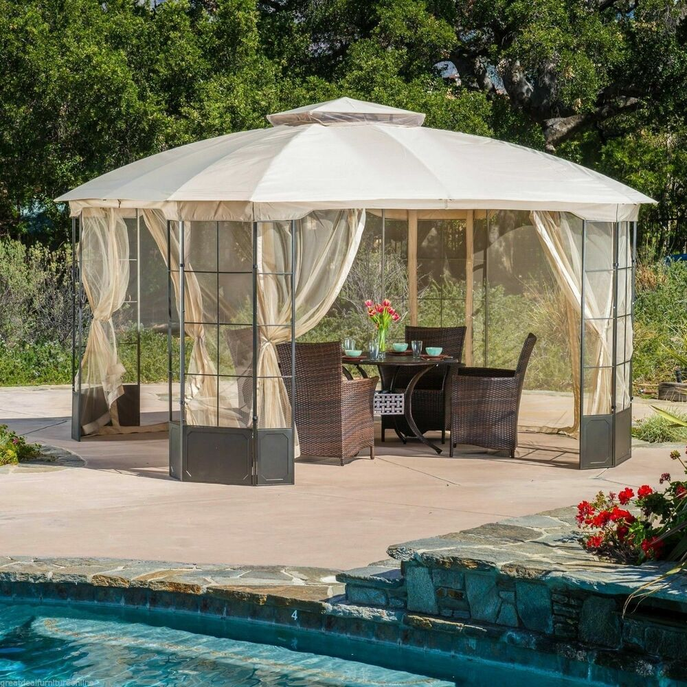 Elegant outdoor patio furniture steel canopy gazebo ebay for Outdoor furniture gazebo