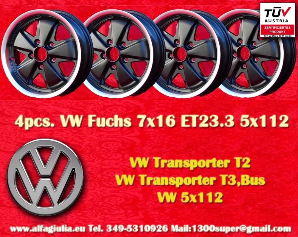 4 cerchi volkswagen t2 t3 fuchs 7x16 5x112 wheels felgen jantes llantas t v ebay. Black Bedroom Furniture Sets. Home Design Ideas