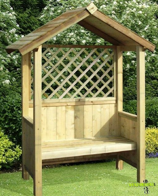 Wooden Garden Arbour Treated Natural Wood Shade Summer