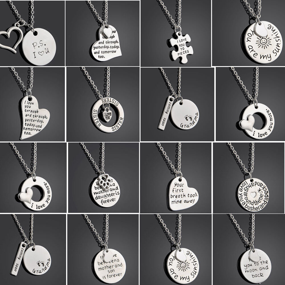fashion family love chain necklace letter engraved pendent. Black Bedroom Furniture Sets. Home Design Ideas