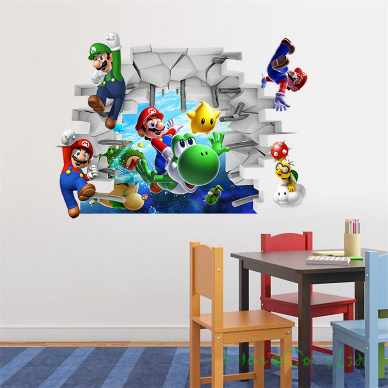 3d super mario art kids room decor wall sticker cartoon for Childrens wall mural stickers