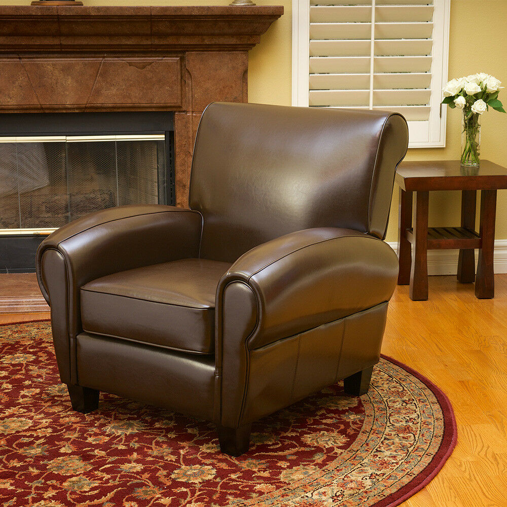 Large And Comfortable Brown Leather Cigar Club Chair Ebay