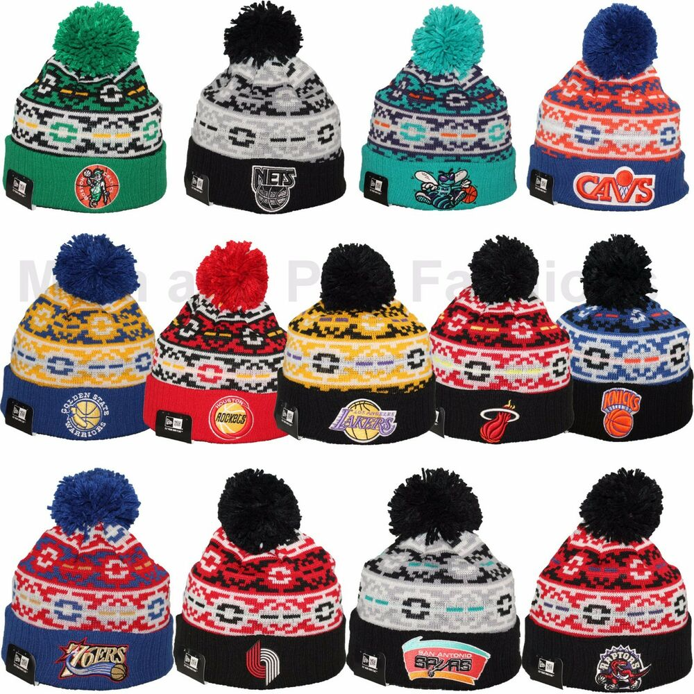 New Era Nba Retro Chill Winter Pom Pom Knit Beanie Cap Hat