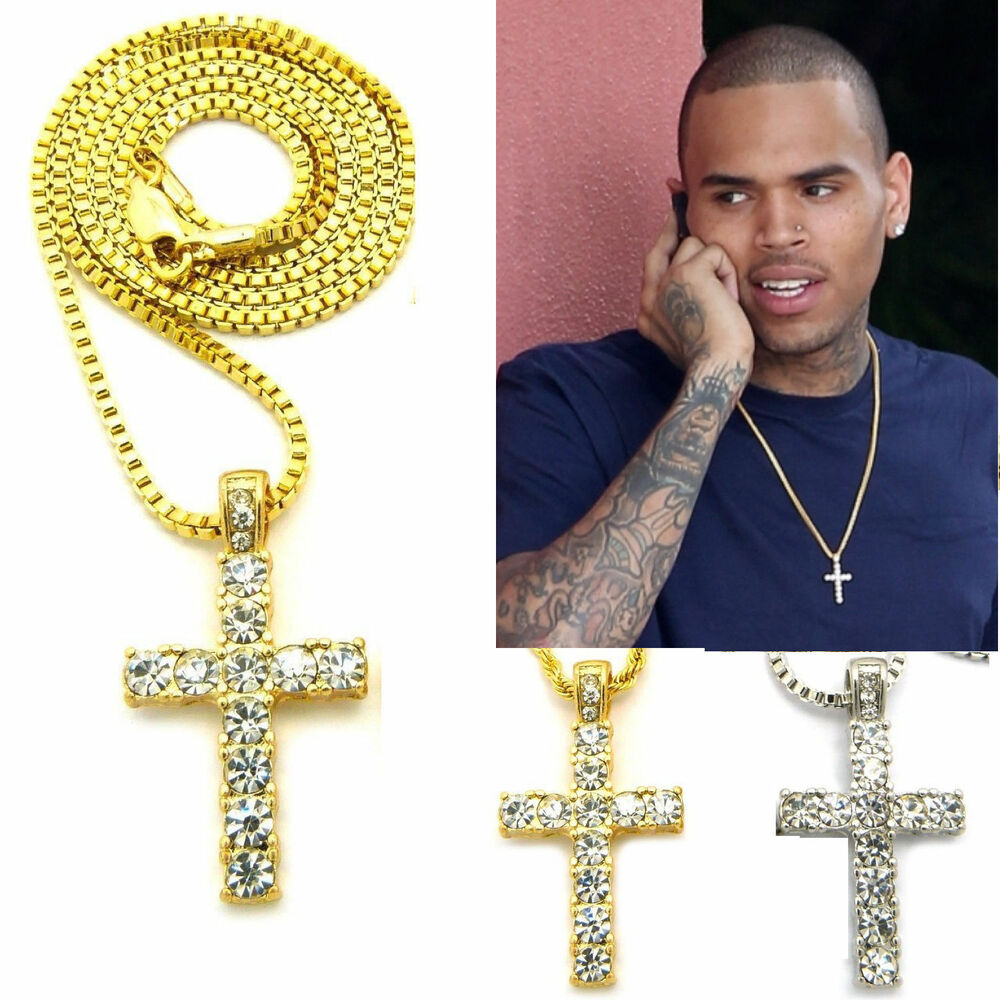 mens hip hop gold silver micro mini cross pendant ball
