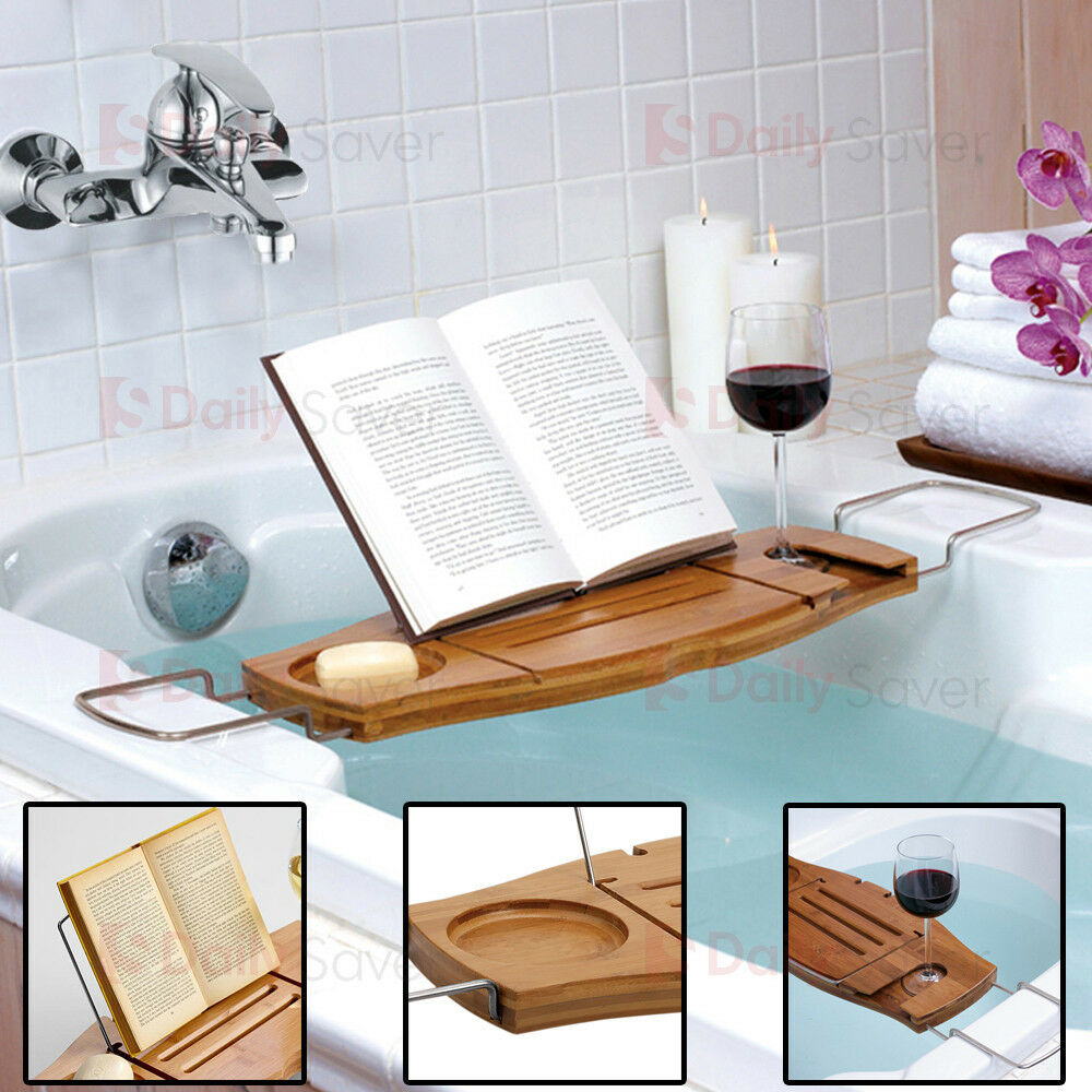 new bathroom bamboo bath caddy wine glass holder tray over. Black Bedroom Furniture Sets. Home Design Ideas