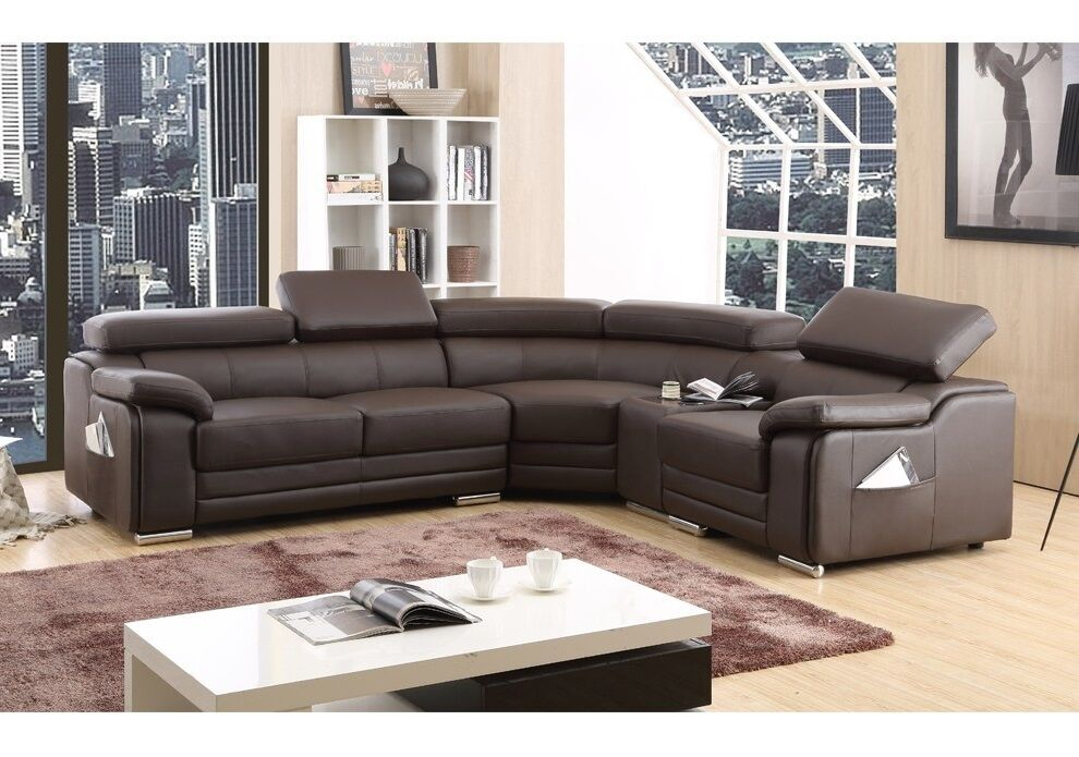 Dakota Brown Bonded Leather Corner Sofa Right Hand Ebay