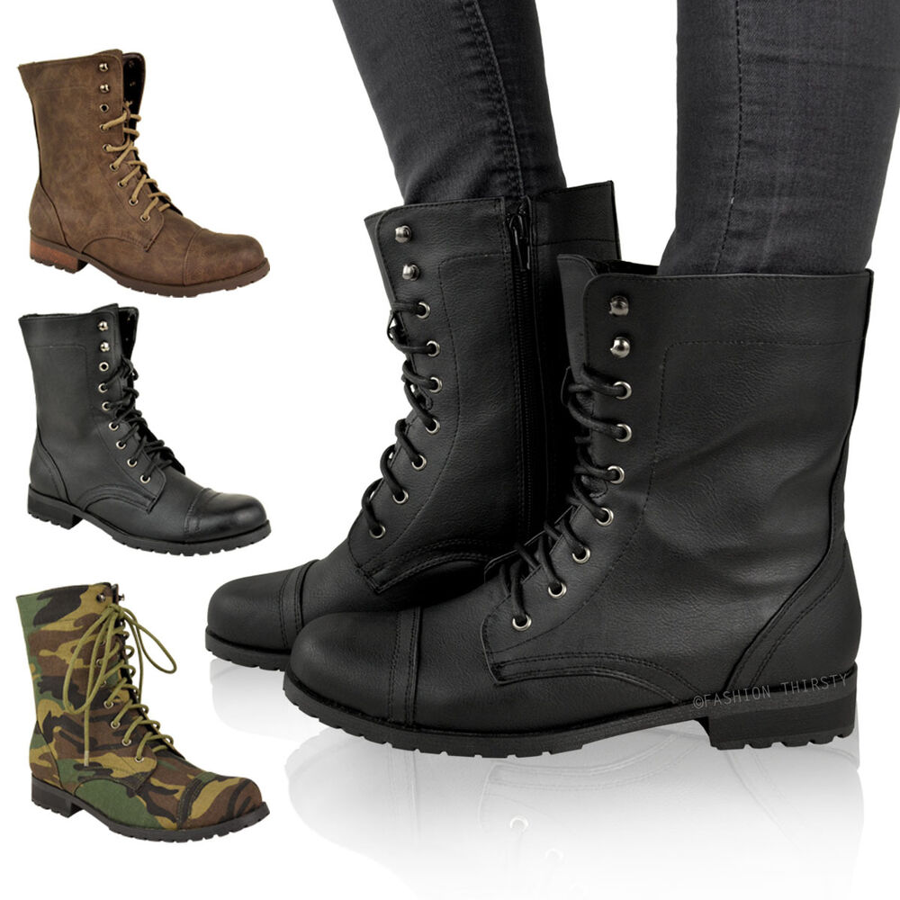 Ladies Womens Low Heel Flat Lace Up Biker Army Military Combat ...