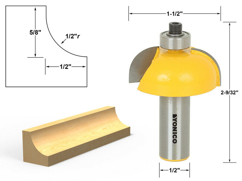 Cove Edging And Molding Router Bit 1 2 Quot Radius 1 2 Quot Shank Yonico 13156 Ebay