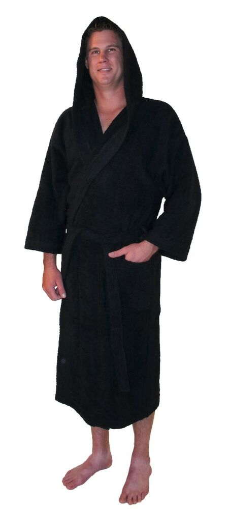 bathrobe hooded turkish cotton terry calf length 3 4 sleeve mens womens spa robe ebay. Black Bedroom Furniture Sets. Home Design Ideas