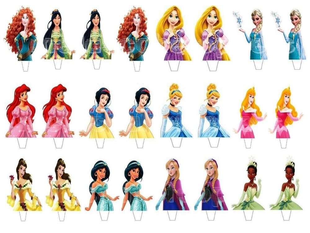 24 x Disney Princess Mix Edible Wafer Paper Cake Cupcake Fairy Toppers ...