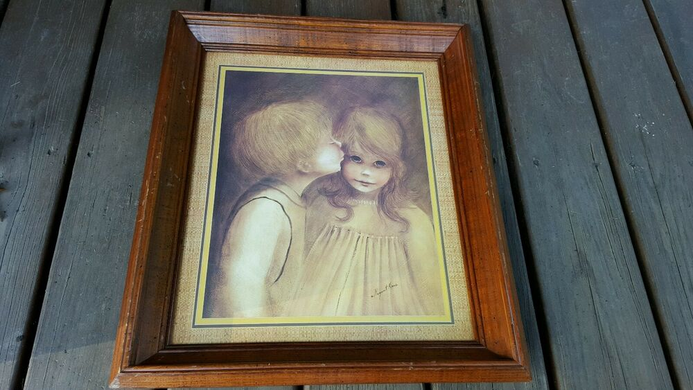 Margaret kane print first love little kiss big eyed boy for Home interior picture little girl