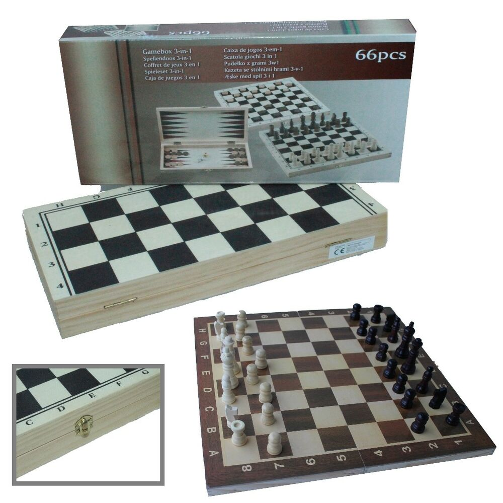 schach dame backgammon inkl spielfiguren holz spielbrett neu ovp ebay. Black Bedroom Furniture Sets. Home Design Ideas