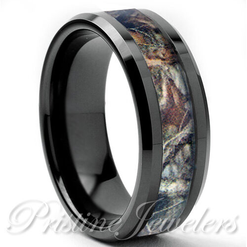 Tungsten real oak forest camo ring brown mossy tree for Tungsten camo wedding rings