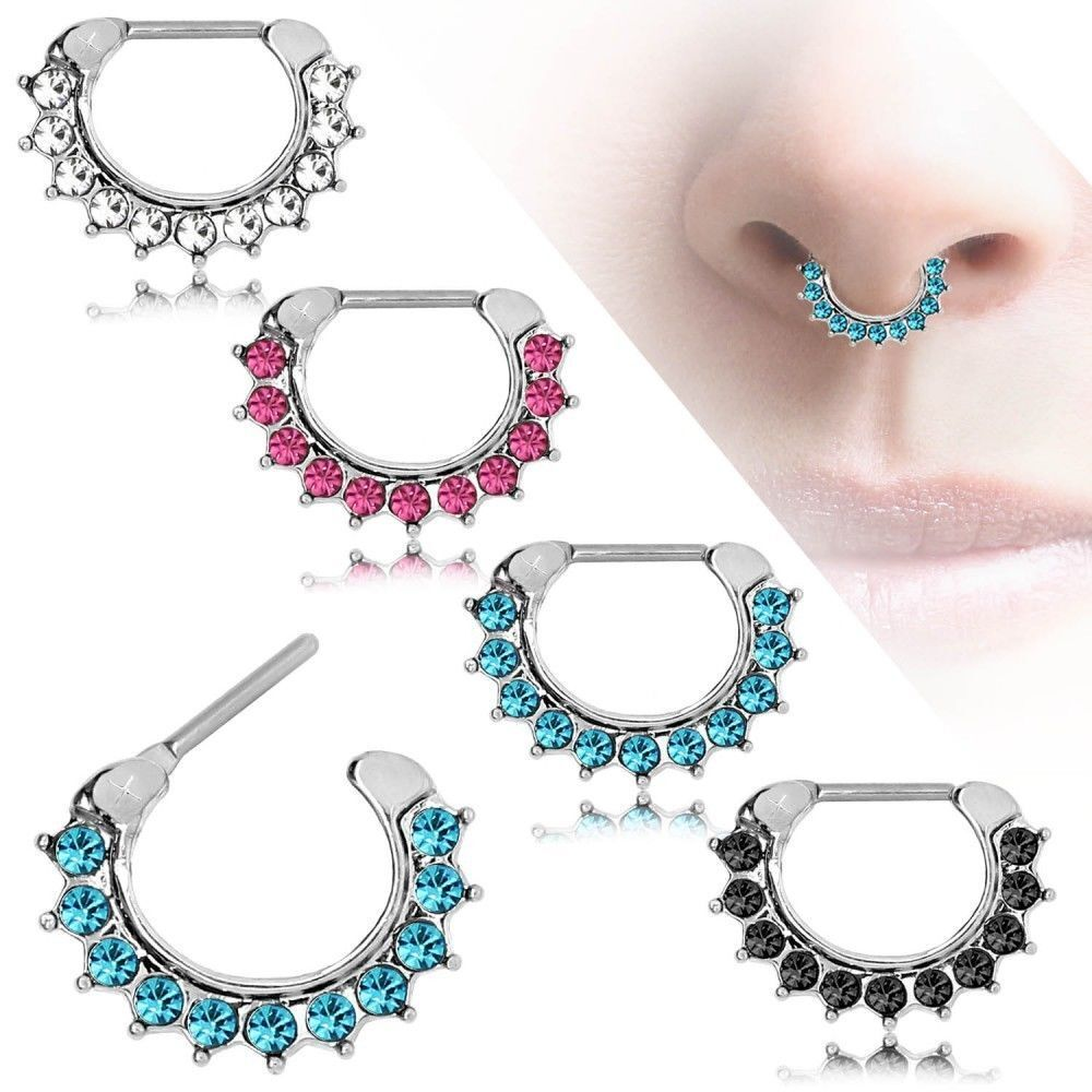 16g 1 2mm septum clicker cz daith nose ring piercing